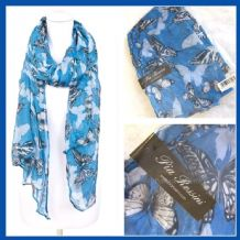 Pia Rossini Blue Evelina Summer Scarf Ladies Gift Womens Xmas Christmas birthday